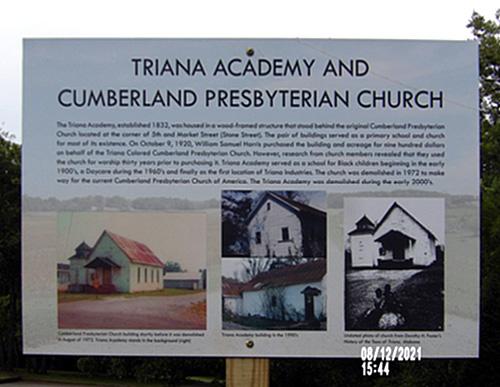 Triana Academy and Cumberland Presbyterian Church Marker